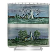 Evening Worship In Winter And Summer Shower Curtain
