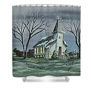 Evening Worship In Winter Shower Curtain