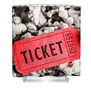 Event Ticket Lying On Pile Of Popcorn Shower Curtain