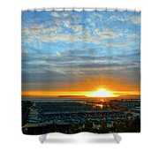Everett Marina Sunset Shower Curtain