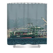 Evergreen Freight Ship And Cargo In Port Of Oakland, California Shower Curtain