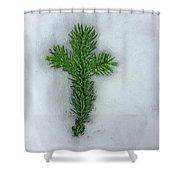 Evergreen Snow Cross Shower Curtain