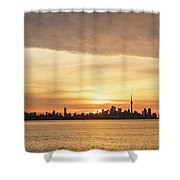 Every Morning Is Different - Toronto First Sunrays In Cyber Yellow  Shower Curtain