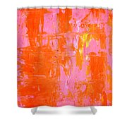 Everyone's Fav - Pink And Orange Abstract Art Painting Shower Curtain
