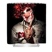 Evil Blood Stained Clown Contemplating Homicide Shower Curtain