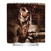 Evil Clown Musing With Scary Expression Shower Curtain