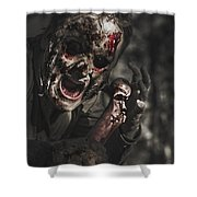 Evil Male Zombie Screaming Out In Bloody Fear Shower Curtain