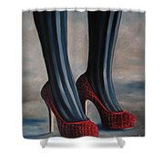 Evil Shoes Shower Curtain by Jindra Noewi