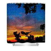 Exagerated Sunset Painting Shower Curtain