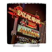 Excalibur Casino Sign Night Shower Curtain
