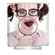 Excited Nerd Girl With A Big Idea Shower Curtain
