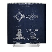 Exercise Machine Patent From 1879 - Navy Blue Shower Curtain