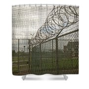 Exercise Yard Through Window In Prison Shower Curtain