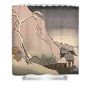 Exiled Buddhist Cleric Nichiren In The Snow Shower Curtain
