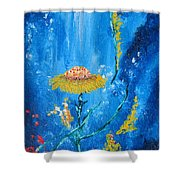 Exotic Colorful Flowers Abstract Composition Shower Curtain