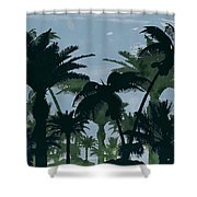 Exotic Palm Trees Silhouettes Water Color Shower Curtain