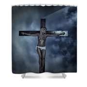 Experimental Crucifix In The Light Shower Curtain