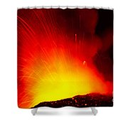 Exploding Lava At Night Shower Curtain
