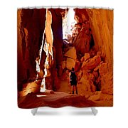 Exploring A Cave Shower Curtain