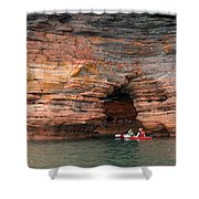 Exploring The Sea Caves Shower Curtain