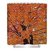 Expressionalism Golden Tree Shower Curtain