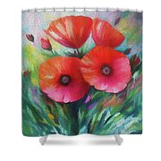 Expressionist Poppies Shower Curtain