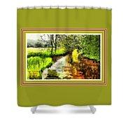 Expressionist Riverside Scene L A With Alt. Decorative Printed Frame. Shower Curtain