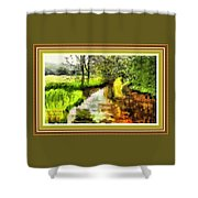 Expressionist Riverside Scene L A With Decorative Ornate Printed Frame Shower Curtain