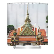 Exquisite Details On The Building Of Wat Arun In Bangkok, Thailand Shower Curtain