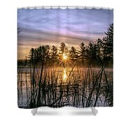 Exquisite Sunrise On The Androscoggin River 2 Shower Curtain