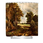 Extensive Landscape With Boy Drinking Water Shower Curtain