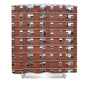 External Facade With Many Windows All Identical. Shower Curtain