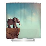 Extinction Concept Elephant Family On Edge Of Cliff Shower Curtain