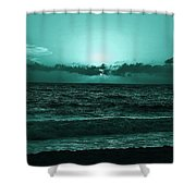 Extreme Green Sunset  Shower Curtain