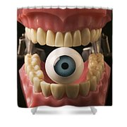 Eye Held By Teeth Shower Curtain