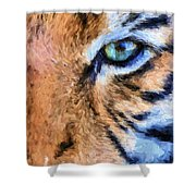 Eye Of The Tiger Shower Curtain by JC Findley