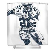 Ezekiel Elliott Dallas Cowboys Pixel Art 3 Shower Curtain