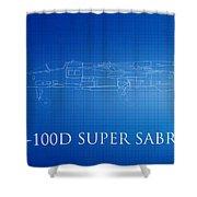 F-100d Super Sabre Blueprint Shower Curtain