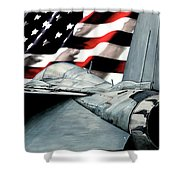 F-14 And Flag Shower Curtain