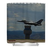 F-16 And Tower Shower Curtain