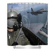 F-16 Fighting Falcons Flying Shower Curtain