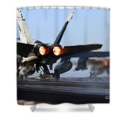 F 18 Hornet-aircraftcarriers Shower Curtain