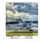 F-18 Hornet Takeoff Shower Curtain