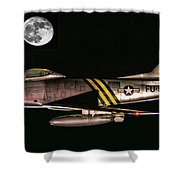 F-86 And The Moon Shower Curtain