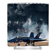 F/a -18 Super Hornet, U S Navy Blue Angeles Shower Curtain