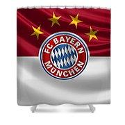F C Bayern Munich - 3 D Badge Over Flag Shower Curtain
