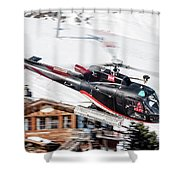F-gsdg Eurocopter As350 Helicopter Courchevel Shower Curtain