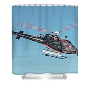 F-gsdg Eurocopter As350 Helicopter In Blue Sky  Shower Curtain