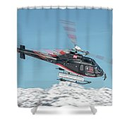 F-gsdg Eurocopter As350 Helicopter Over Mountain Shower Curtain