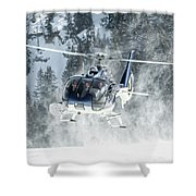 F-hana Eurocopter Ec-130 Landing Helicopter At Courchevel Shower Curtain